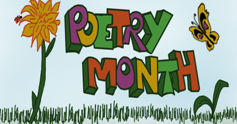 Poetry Month spring illustration with orange flower and butterfly.